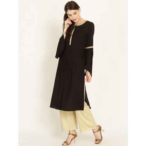 RARE ROOTS Women Black & Gold-Toned Solid Straight Kurta