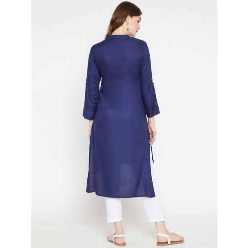 RARE ROOTS Women Navy Blue Solid Straight Kurta