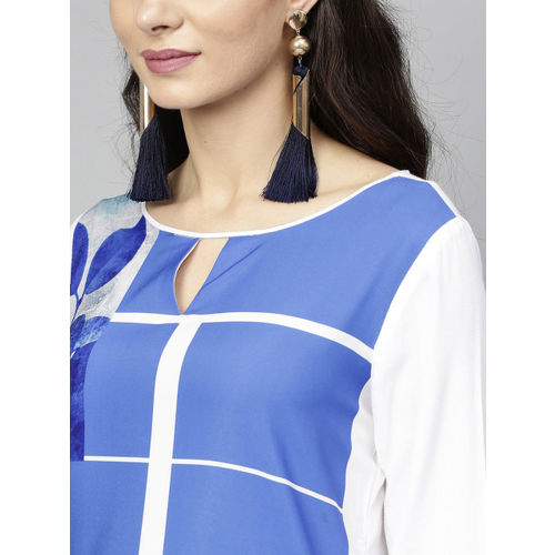 RARE ROOTS Women Blue & White Printed A-Line Kurta