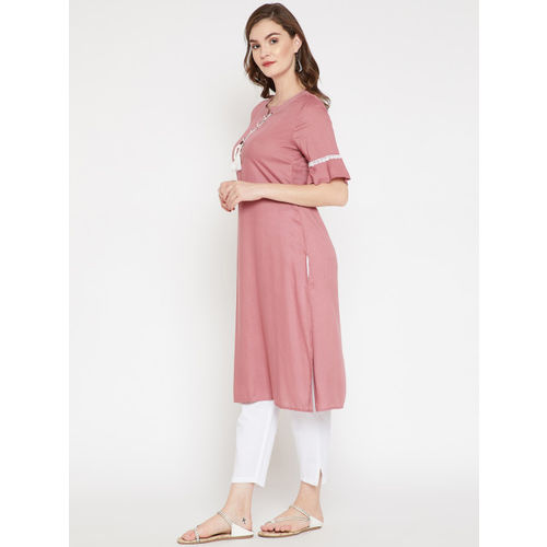 RARE ROOTS Women Dusty Pink Solid Straight Kurta