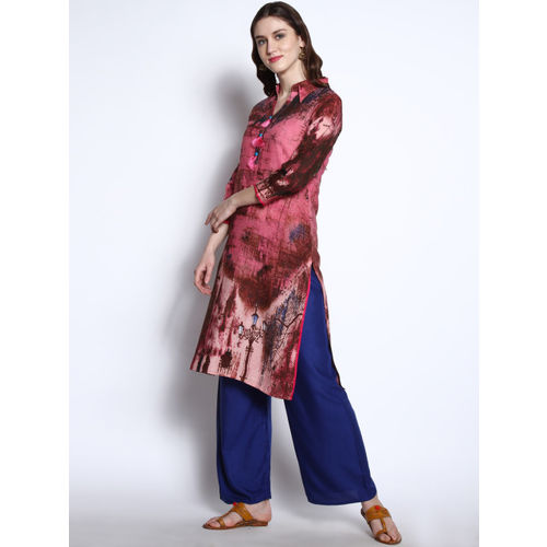 RARE ROOTS Women Pink & Brown Printed Straight Kurta
