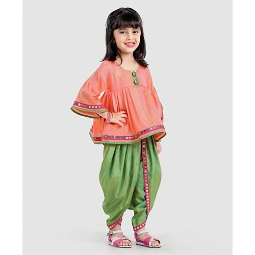 Saka Designs Peach & Green Three Fourth Sleeves Kurta & Dhoti Set