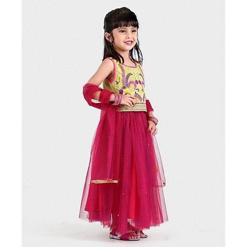 Babyhug Pink Sleeveless Embroidered Choli Lehnga With Dupatta