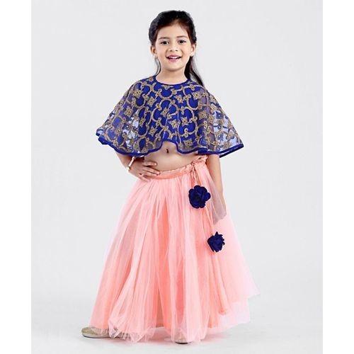Saka Designs Pink & Blue Poncho Style Lehenga Designer Embroidered