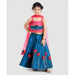 Saka Designs Blue Sleeveless Layered Choli With Lehenga & Dupatta Flower Motif