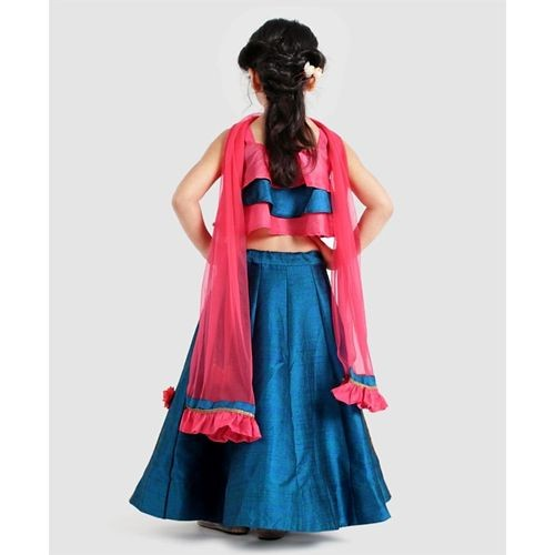 Saka Designs Blue Sleeveless Layered Choli With Lehenga & Dupatta Flower Motif