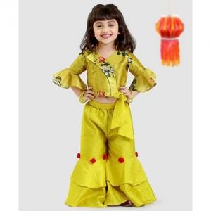 Varsha Showering Yellow Trends Floral Print Top & Flared Palazzo Set