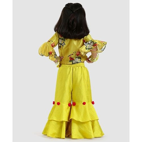 Varsha Showering Yellow Trends Floral Print Top & Flared Palazzo Set
