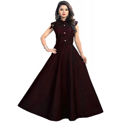 Vaidehi Creation Maroon Tafeta Satin Solid Anarkali Style Gown