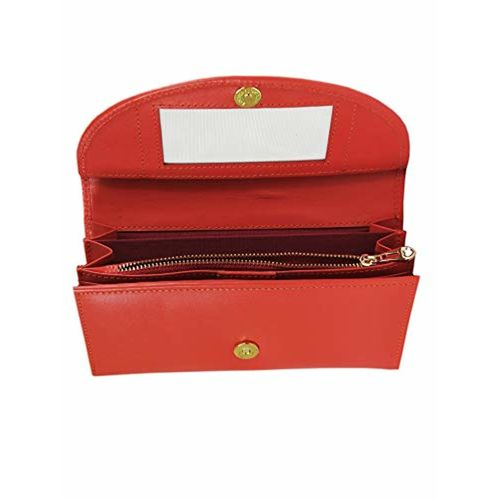 G'leani Women's Red Trifold Genuine Leather Wallet