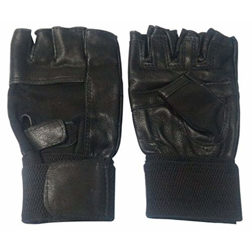 Saugat Traders Leather Gym Gloves With Wrist Support/Weight Lifting Gloves/Fitness Gloves/Winter Gloves (Black)