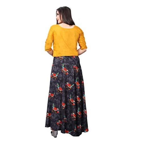 Crawler Creation Yellow Rayon Digital Printed Stitched Stylish Gown
