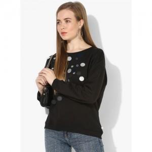 United Colors of Benetton Black Self Design Sweatshirt