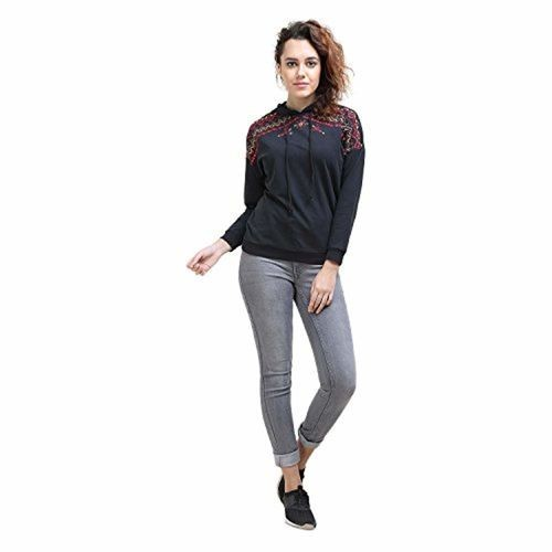MansiCollections Embroidered Hoodie for Womens
