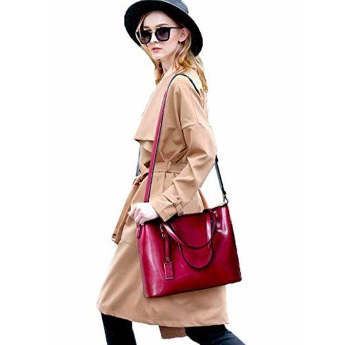 DI GRAZIA Di Grazia Womens Luxury Tote Handbag with Scarf Charm (Redwine, redwine-ribbon-tote)