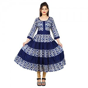 AnjuShree Choice Blue Cotton Printed Umbrella cut Kurti