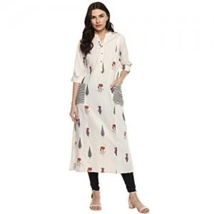 Divena White Khadi Printed Straight Kurti With Pockets