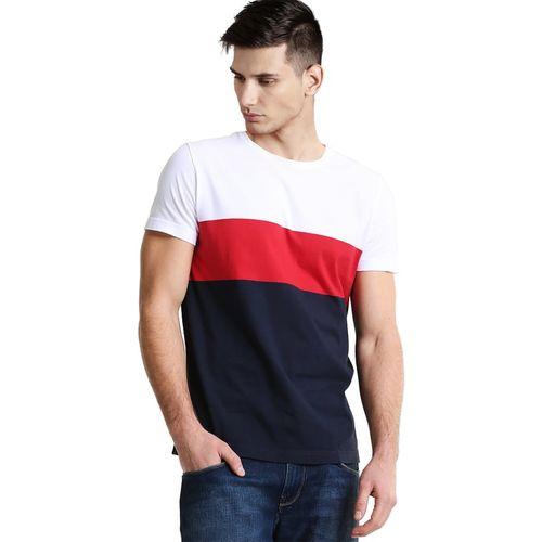 Sarfira Color block Men Round Neck White, Red, Dark Blue T-Shirt