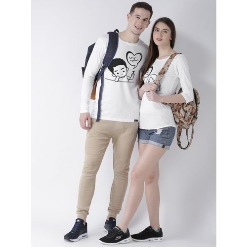 DUO COUPLE Self Design Men & Women Round Neck White T-Shirt
