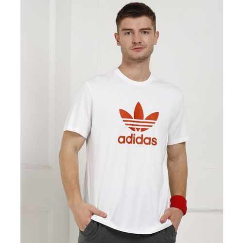 ADIDAS Printed Men's Round Neck White T-Shirt