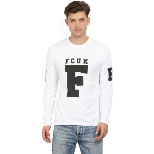 French Connection Printed Men's Round Neck White T-Shirt