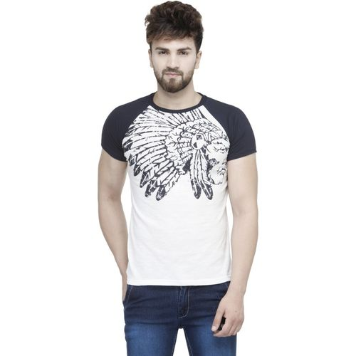Teesort Printed Men's Round Neck Blue, White T-Shirt