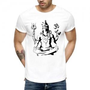 Avni's Graphic Print Men's Round Neck Reversible White T-Shirt