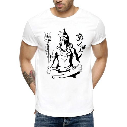 Avni's Graphic Print Men's Round Neck Reversible White T-Shirt