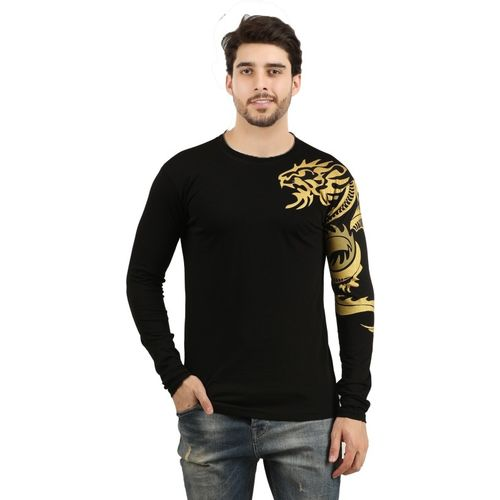 THE ARCHER Graphic Print Cotton Blend Round Neck Black T-Shirt