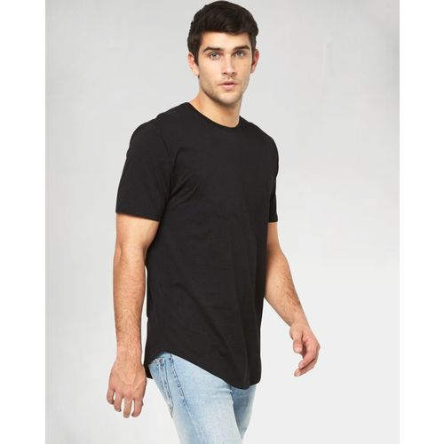 Young Trendz Solid Men's Round Neck Black T-Shirt
