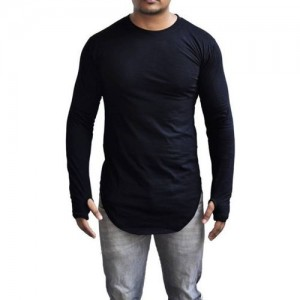 UZEE Black Cotton Solid Round Neck T-Shirt