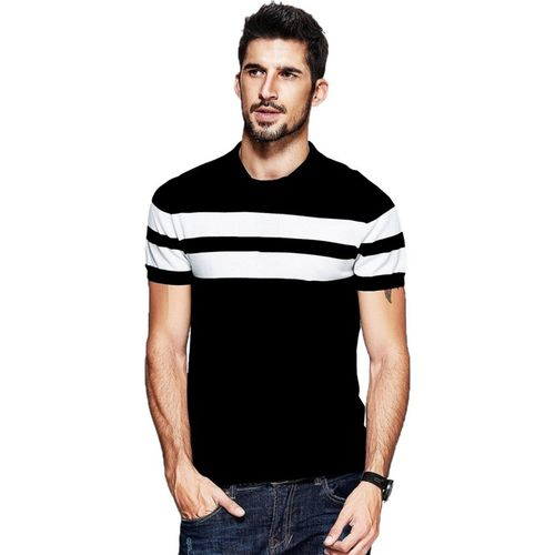 BYC Striped Men's Round Neck Black T-Shirt