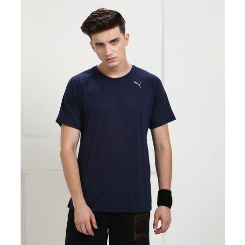 Puma Self Design Men's Round Neck Blue T-Shirt