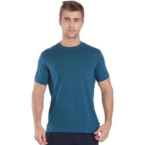 Jockey Solid Men Round Neck Blue T-Shirt