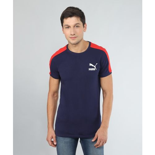 Puma Solid Men's Round Neck Blue T-Shirt