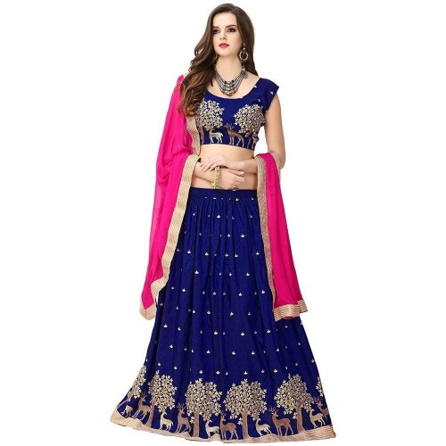 Ultrasav Blue And Pink banglory Silk Embroidered semi stitched lehenga choli