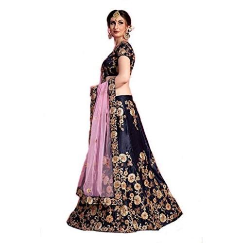 e0f3adbec237 Buy Sandar Fab Blue And Pink Taffeta Silk Embroidered Semi stitched ...
