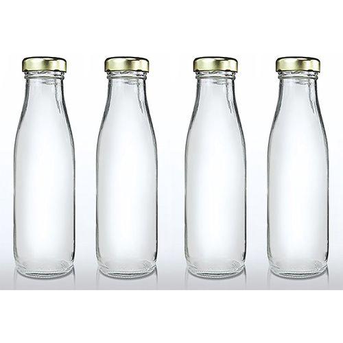 CRAZYINK Hygienic Air Tight Italian Glass Water Bottle, Milk Bottle, Juice Bottle 1000 ml Bottle(Pack of 4, Clear)