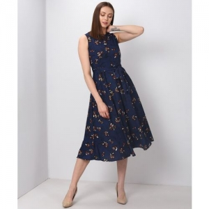 Tokyo Talkies Women Fit and Flare Blue Dress
