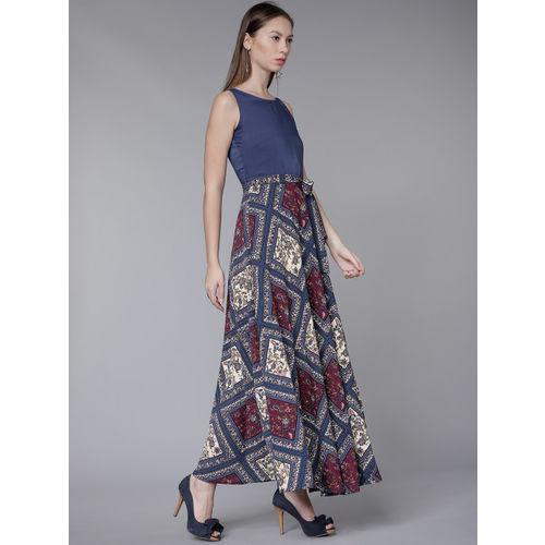 Tokyo Talkies Women Navy Blue Printed Maxi Dress