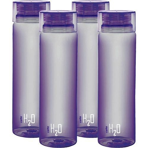 Cello present H2O PET 1000 ml BPA free, Leak Proof, Break proof, Crystal clear, 100% food grade, Hygenic, Freezer safe water bottel in set of 4 pcs Purple color