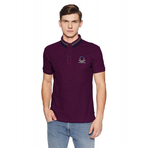 United Colors of Benetton Purple Cotton Solid Regular Fit Polo