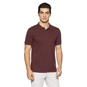 Adidas Maroon Cotton Solid Polo
