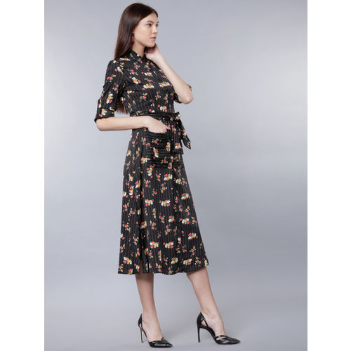 Tokyo Talkies Women Black Printed Shirt Dress