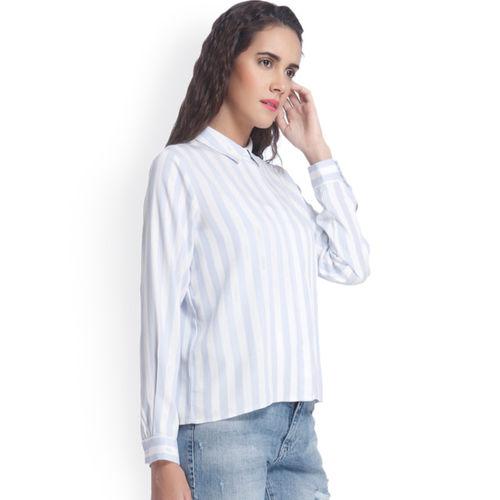 f4512ebf77 ... Vero Moda Women Blue & White Regular Fit Striped Casual Shirt ...
