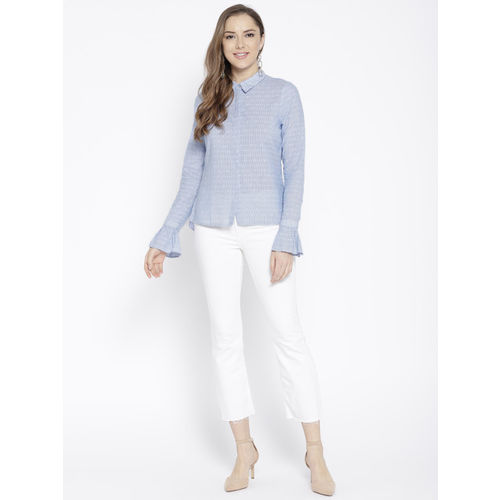 Vero Moda Women Blue & White Regular Fit Striped Casual Shirt