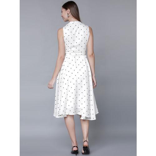 Tokyo Talkies Women White Polka Dot Print Fit and Flare Dress