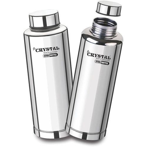 Crystal Water Bottle Stainless Steel Fridge Bottle, Set Of 2, 1000 ml Bottle(Pack of 2, Steel/Chrome)