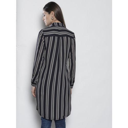 DOROTHY PERKINS Women Black Striped Longline Casual Shirt