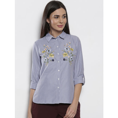 DOROTHY PERKINS Women Blue & White Striped Casual Shirt with Embroidered Detail